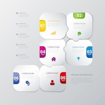 Plantilla de infografías de proceso de pasos redondeados multicolores