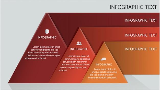 Plantilla de infografías con tres segmentos triangulares