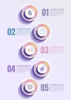 Plantilla de infografic con 5 pasos