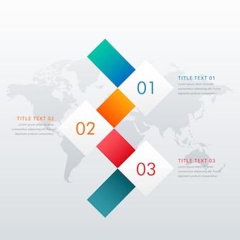 Plantilla infográfica de 3 pasos sobre mapa del mundo
