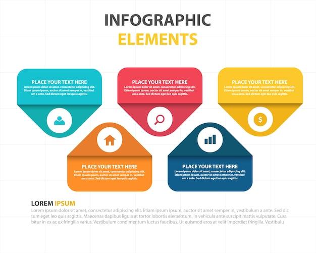 Plantilla infográfica con cinco elementos infográficos