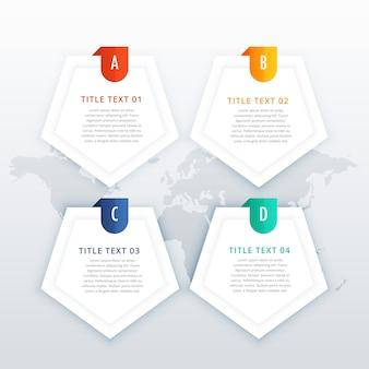 Plantilla infográfica de cuatro pasos con espacio para texto