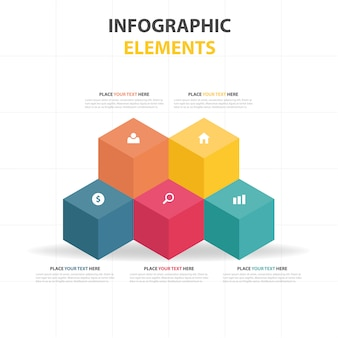 Plantilla infográfica con cubos coloridos