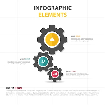 Plantilla infográfica de negocios con engranaje