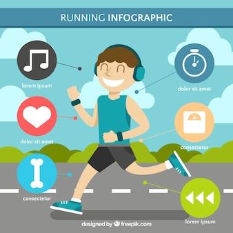 Plantilla infográfica fantástica de hombre corriendo