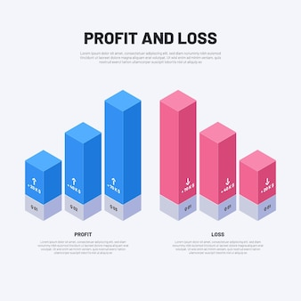 Plantilla infográfica de ganancias azules y pérdidas rosadas