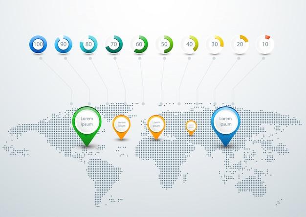 Plantilla infográfica del mapa del mundo con el diseño de los puntos