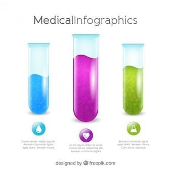 Plantilla infográfica médica de tubos de ensayo