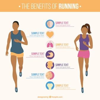 Plantilla infográfica de mujer y hombre corriendo