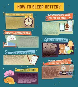 Plantilla infográfica sobre sueño nocturno de relajación saludable.