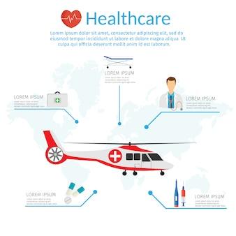 Plantilla de infographic para el ejemplo del vector del concepto de la medicina en el estilo plano moderno del diseño, helicóptero médico.