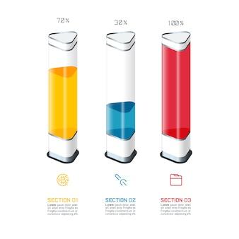 Plantilla del infographics del gráfico de barras con el pedazo colorido 3d.