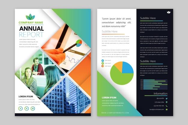 Plantilla de informe anual abstracto con foto