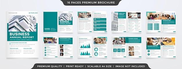 Plantilla de informe anual empresarial de estilo limpio con estilo premium