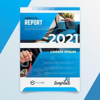Plantilla de informe anual geométrico 2020/2021 con foto