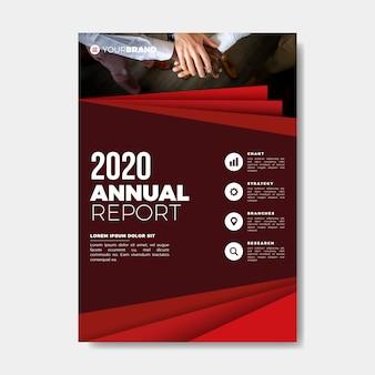 Plantilla de informe anual de manos de trabajo en equipo