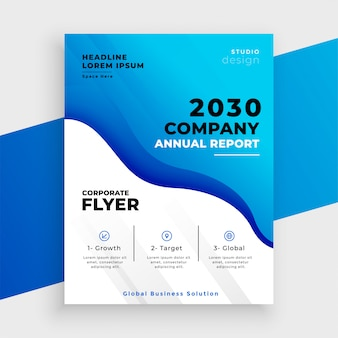 Plantilla de informe anual de negocio abstracto azul