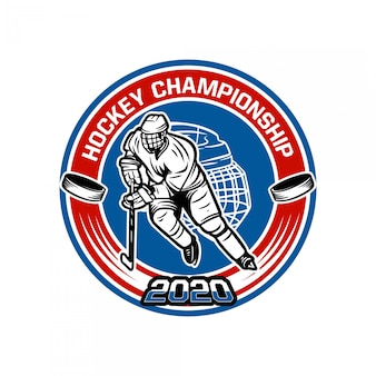 Plantilla de insignia del campeonato de hockey 2020 con ilustración de jugador de hockey