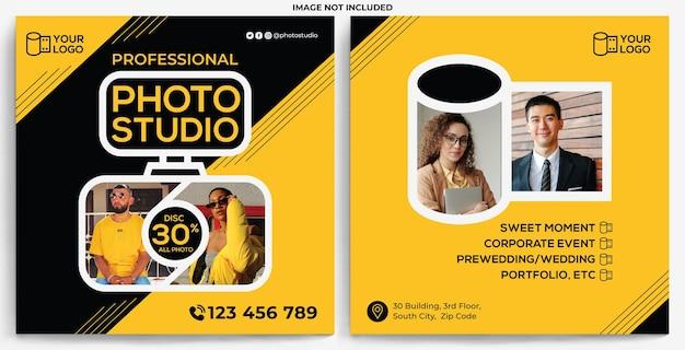 Plantilla de instagram de alimentación de promoción de estudio fotográfico en estilo de diseño moderno