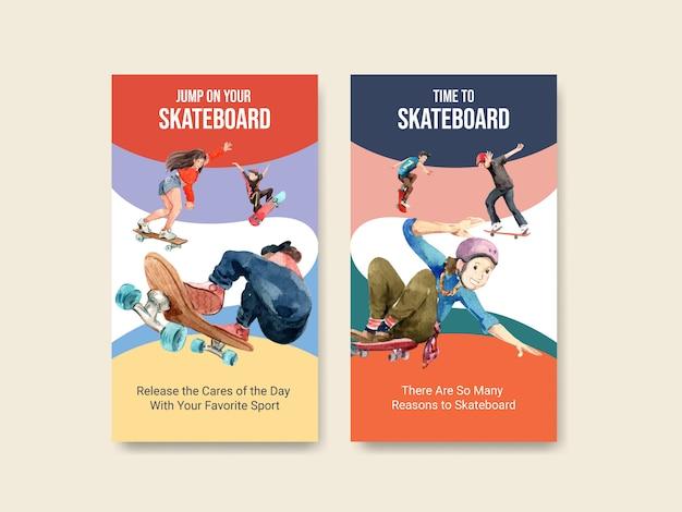 Plantilla de instagram con concepto de diseño de patineta para la ilustración de vector de acuarela de redes sociales.