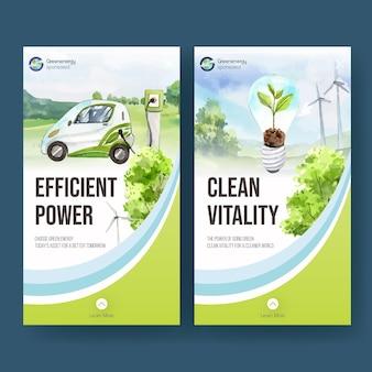 Plantilla de instagram con concepto de energía verde en estilo acuarela
