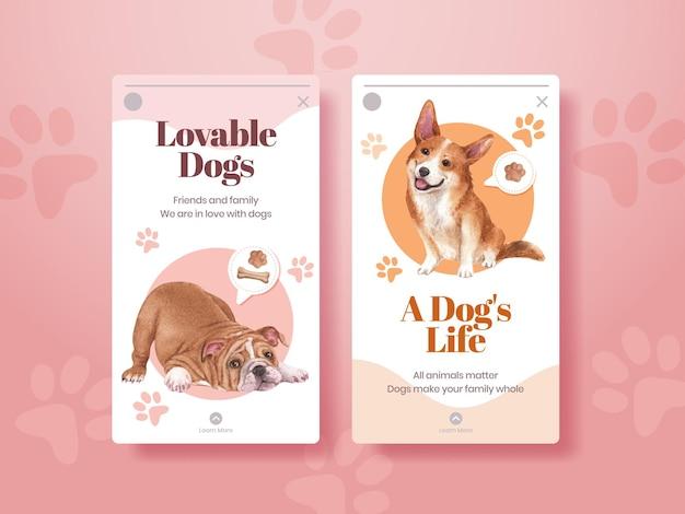 Plantilla de instagram con concepto de perro lindo, estilo acuarela