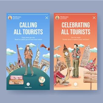 Plantilla de instagram con el día mundial del turismo en estilo acuarela