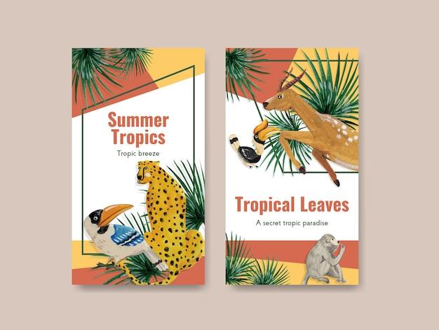 Plantilla de instagram con diseño de concepto contemporáneo tropical para redes sociales y comunidad en línea