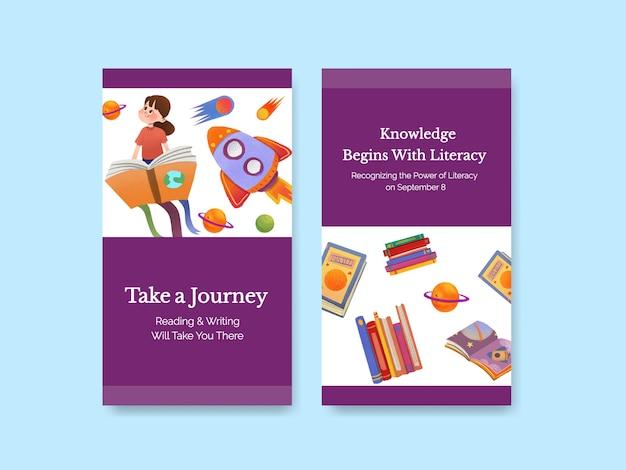 Plantilla de instagram con diseño de concepto del día internacional de la alfabetización para marketing en línea y vector acuarela de redes sociales.