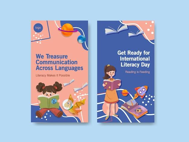 Plantilla de instagram con diseño de concepto del día internacional de la alfabetización para marketing online