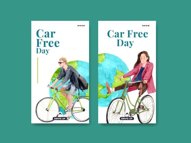 Plantilla de instagram con diseño de concepto del día mundial sin automóviles para redes sociales y acuarela de internet.
