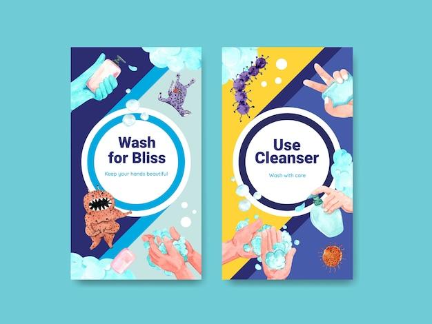 Plantilla de instagram con diseño de concepto del día mundial del lavado de manos