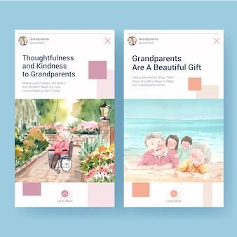 Plantilla de instagram con diseño de concepto del día nacional de los abuelos para redes sociales e internet acuarela.