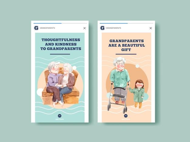 Plantilla de instagram con diseño de concepto de día nacional de los abuelos para redes sociales e internet vector acuarela.
