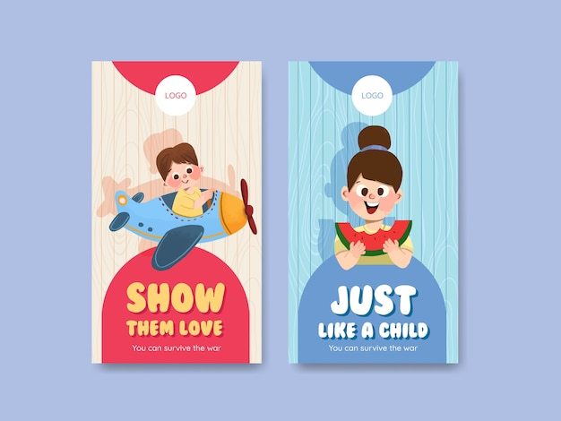 Plantilla de instagram con diseño de concepto del día del niño
