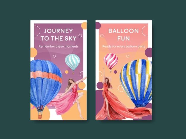 Plantilla de instagram con diseño de concepto de fiesta de globos para marketing en línea y redes sociales ilustración vectorial de acuarela