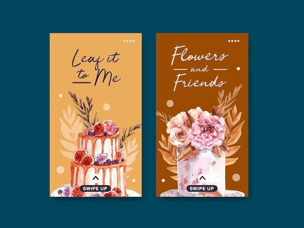 Plantilla de instagram con diseño de concepto de flor de otoño para redes sociales y marketing digital ilustración acuarela.
