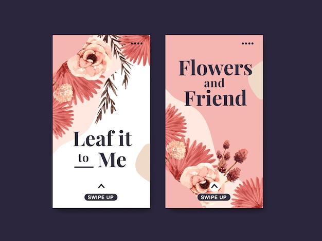 Plantilla de instagram con diseño de concepto de flor de otoño para redes sociales y marketing digital