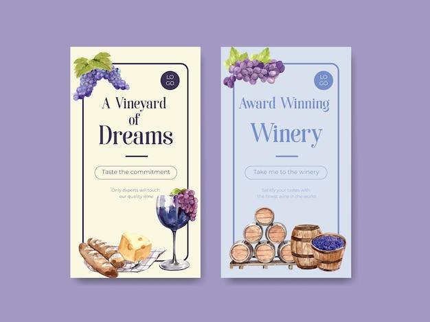Plantilla de instagram con diseño de concepto de granja de vino para ilustración acuarela de redes sociales.
