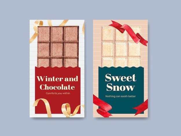 Plantilla de instagram con diseño de concepto de invierno de chocolate para marketing en línea y redes sociales ilustración vectorial de acuarela