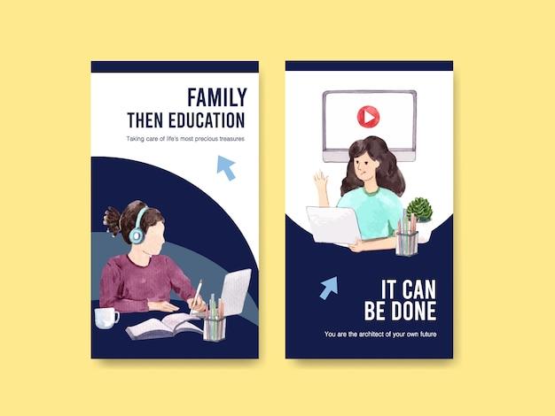 Plantilla de instagram con diseño de educación en línea