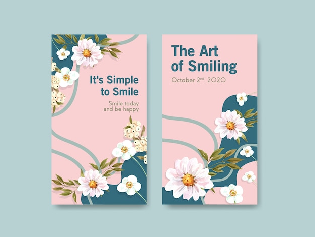 Plantilla de instagram con diseño de ramo de flores para el concepto del día mundial de la sonrisa en las redes sociales y la ilustración de vector de acuarela de la comunidad.