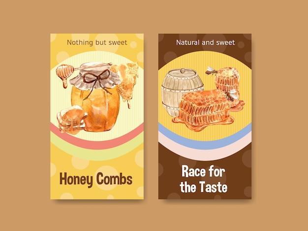 Plantilla de instagram con flyer de miel