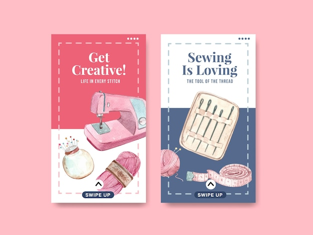 Plantilla de instagram con ilustración acuarela de diseño de concepto de costura.