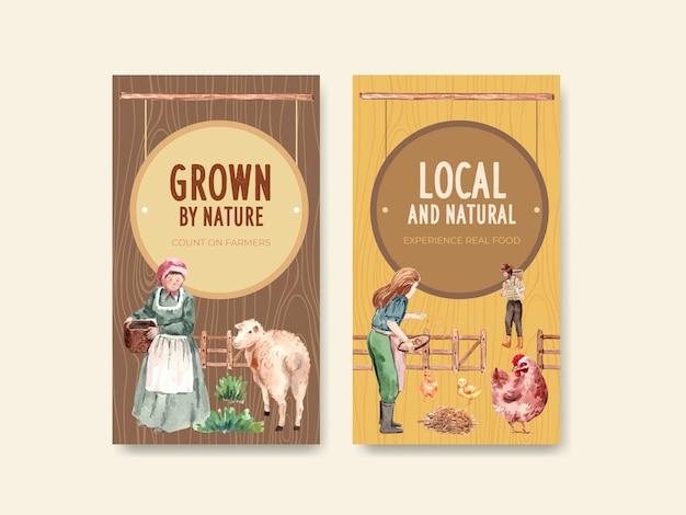 Plantilla de instagram con ilustración acuarela de diseño de concepto orgánico de granja.