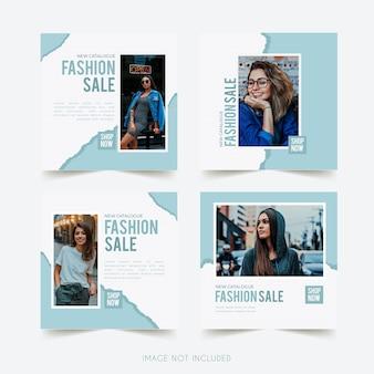 Plantilla de instagram de redes sociales de moda con publicación de paquete de papel rasgado