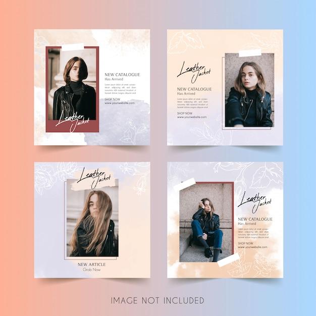 Plantilla de instagram de redes sociales de mujer de moda con publicación de paquete de acuarela