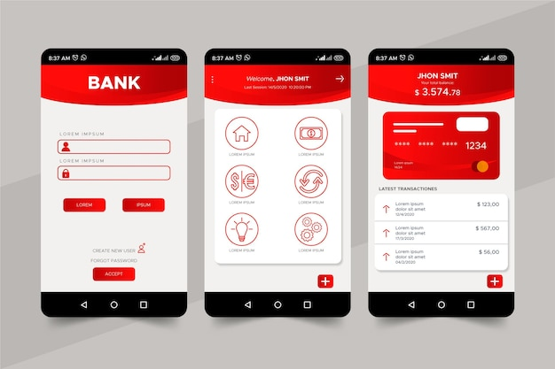 Plantilla de interfaz de la aplicación bancaria
