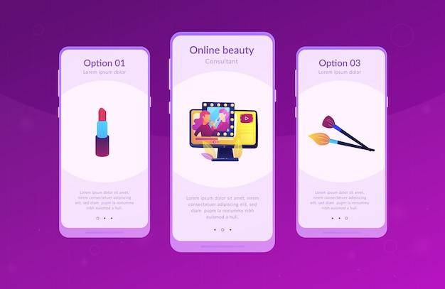 Plantilla de interfaz de la aplicación de blogger de belleza.