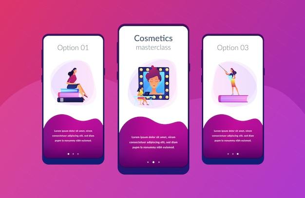 Plantilla de interfaz de la aplicación de cursos de maquillaje.